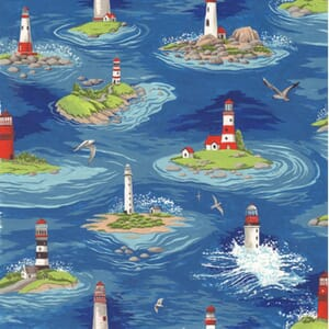 Large Image of Nutex By The Sea Lighthouses Blue Fabric