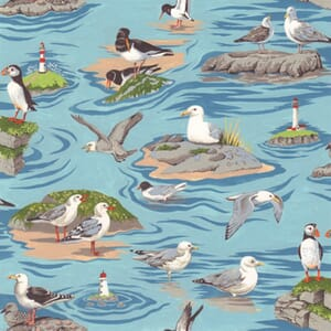 Large Image of Nutex By The Sea Seagulls Blue Fabric