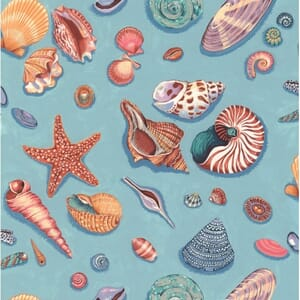 Large Image of Nutex By The Sea Shells Blue Fabric