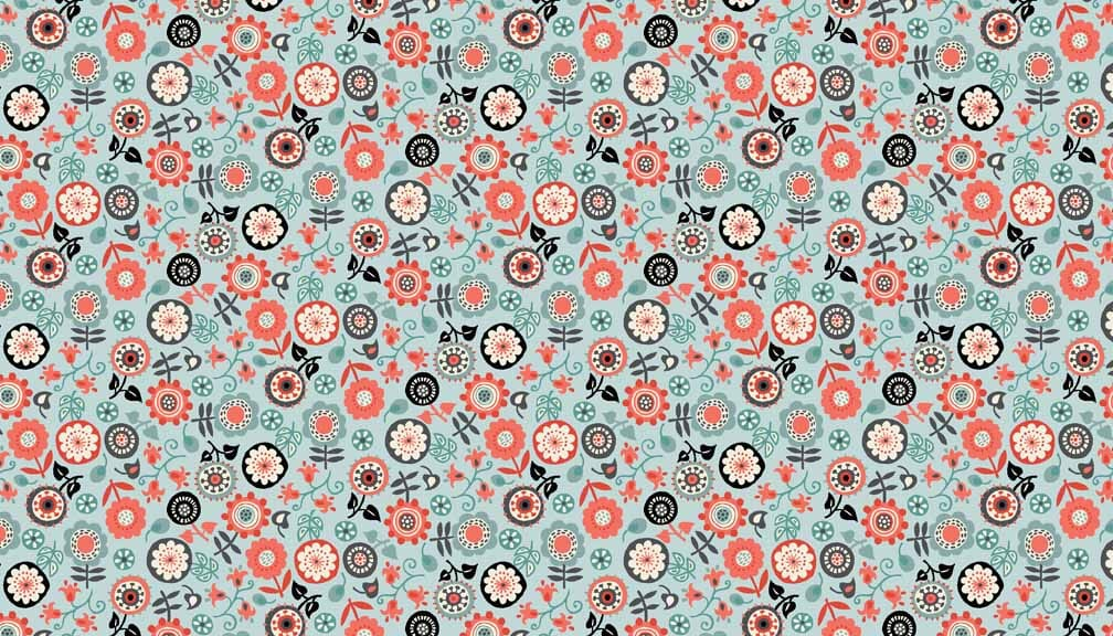 Makower Fabric Papillon Floral Dusty Turquoise