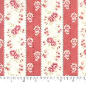 Small Image of Moda Fabric Poetry Prints Rosebud Stripe Rose