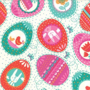 Small Image of Moda Fabric Spring Bunny Fun Eggs Eggs Eggs Cream