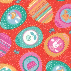 Small Image of Moda Fabric Spring Bunny Fun Eggs Eggs Eggs Geranium