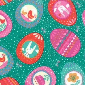 Small Image of Moda Fabric Spring Bunny Fun Eggs Eggs Eggs Jade
