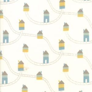 Small Image of Moda Fabric Corner Of 5th And Fun Printed Cotton Highways Byways Ivory