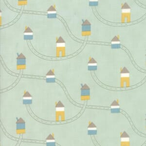 Small Image of Moda Fabric Corner Of 5th And Fun Printed Cotton Highways Byways Mint Green
