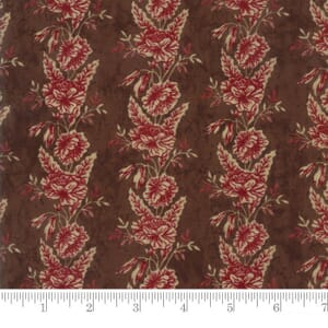 Small Image of Moda Fabric Rachel Remembered Floral Trellis Saddle Brown