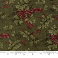 Small Image of Moda Fabric Forever Green Holly Ribbon Pine