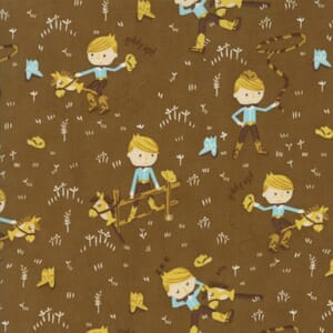 Small Image of Moda Fabric Howdy Boys Best Pal Earth Brown