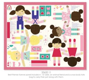 Moda Fabric Best Friends Forever Doll Panel