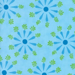 Small Image of Moda Fabric Frolic Carrot Top Flowers Sky Blue