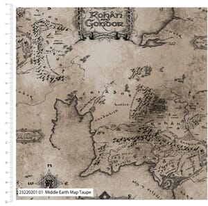 Lord of the Rings Fabric Middle Earth Map Taupe