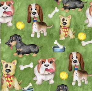 Puppy Pals Dogs at Play Quilting Fabric