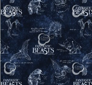 Fantastic Beasts Navy Quilting Fabric