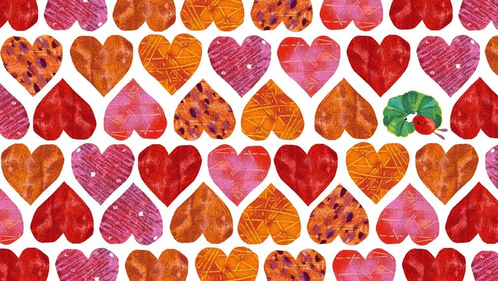 Very Hungry Caterpillar Fabric Endpaper Hearts
