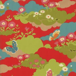 Small Image of Moda Fabric Lucky Day Butterfly Field Multi Poppy Red