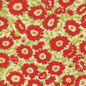 Small Image of Moda Fabric Lucky Day Lazy Daisy Cream Poppy Red
