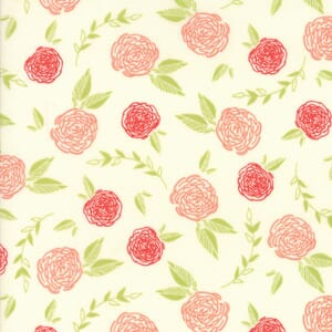 Small Image of Moda Fabric Creekside Roses Ivory Coral