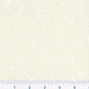 Small Image of Quilt Backing Fabric 108 Inch Wide Tone on Tone White On Cream Floral Cotton Fabric