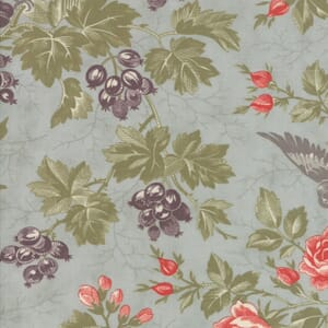 Moda Fabric Quill Bird Toile Mist