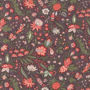 Small Image of Moda Fabric Quill Floral Flourish Dark Mauve