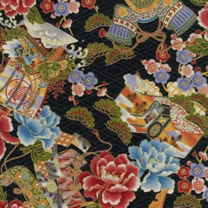 Large Image of Nutex Japanese Floral Rickshaw Metallic Black Fabric