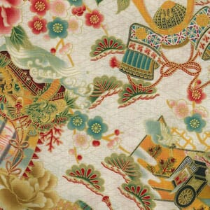 Large Image of Nutex Japanese Floral Rickshaw Metallic Cream Fabric