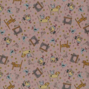 Lynette Anderson One Stitch At A Time Sewing Cats and Dogs Pink