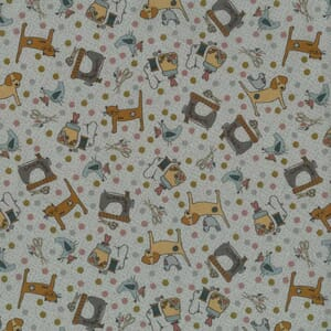 Lynette Anderson One Stitch At A Time Sewing Cats and Dogs Grey