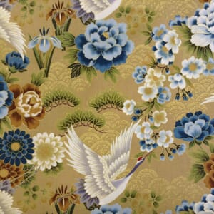 Large Image of Nutex Japanese Floral Metallic Beige Fabric