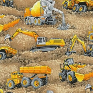 Large Image of Nutex Trucks and Diggers Scenic Beige Fabric