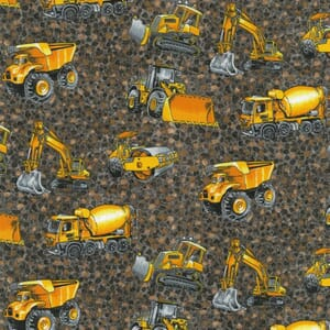 Large Image of Nutex Trucks and Diggers Scatter Brown Fabric
