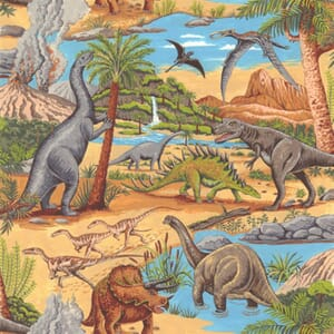 Large Image of Nutex Lost World Dinosaurs Scenic Fabric