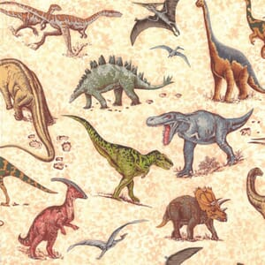 Large Image of Nutex Lost World Dinosaurs Scatter Fabric