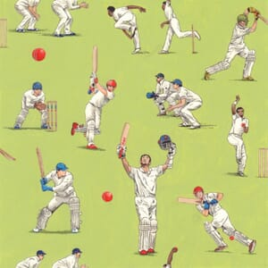 All Rounder Cricket Players Green Fabric