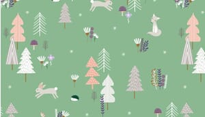 Small Image of Makower Fabric Forest Talk Forest Talk  Green