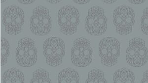 Small Image of Makower Fabric Wildside The Watcher Skulls Silver