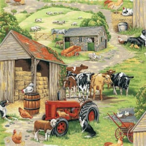 Large Image of Nutex In The Country Farm Scenic Fabric