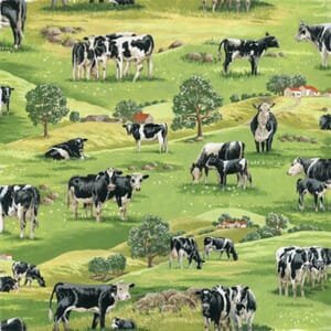 Large Image of Nutex In The Country Cows Scenic Fabric