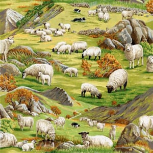 Large Image of Nutex In The Country Sheep Scenic Fabric