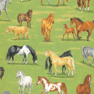 Large Image of Nutex In The Country Horses Scenic Fabric