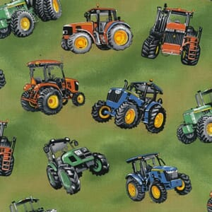 Tractor time Tractors Green Fabric