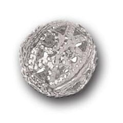 8mm Filigree Bead Silver Plated