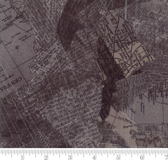 Moda Fabric Compositions Maps Charcoal
