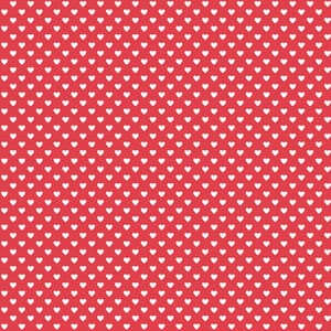 Makower Fabric Hearts White on Red 9149R