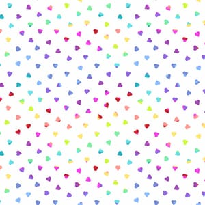 Makower Beguiled Heart of Glass Fabric White 9756L