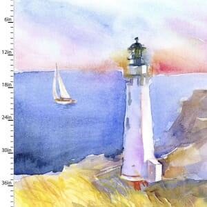 3 Wishes Fabric Panel At The Shore Lighthouse 90cm x 110cm