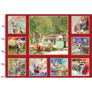 3 Wishes Fabric Panel The Great Outdoors Red 90cm x 110cm