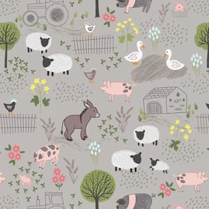 Lewis and Irene Piggy Tales Farmyard Grey A531.2