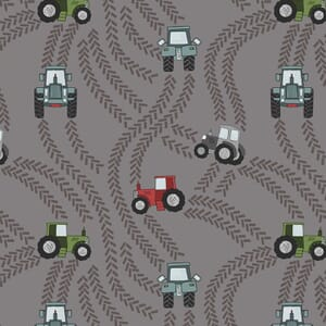 Lewis and Irene Piggy Tales Tractor Trails Muddy Grey A533.3